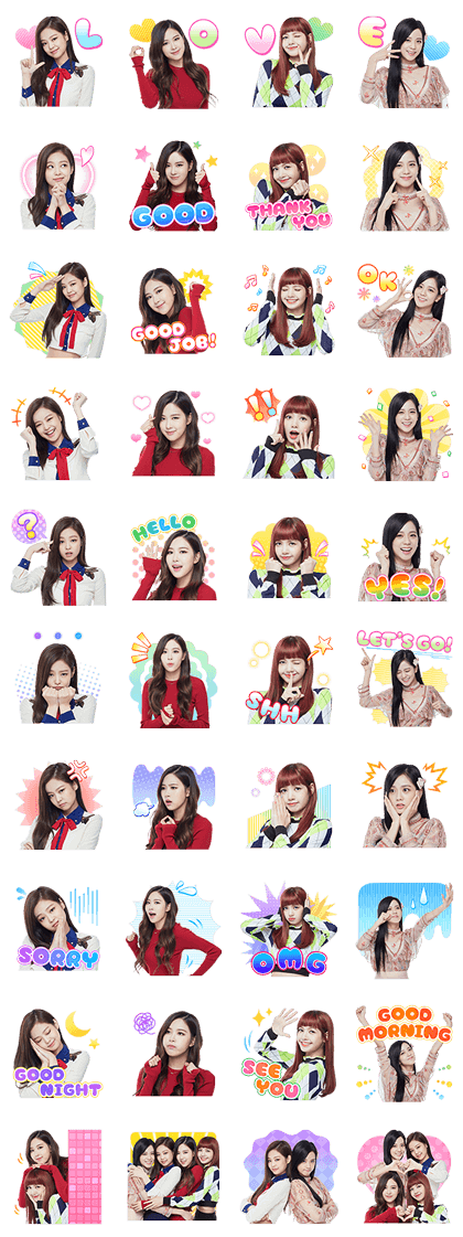 BLACKPINK Line Sticker GIF & PNG Pack: Animated & Transparent No Background | WhatsApp Sticker