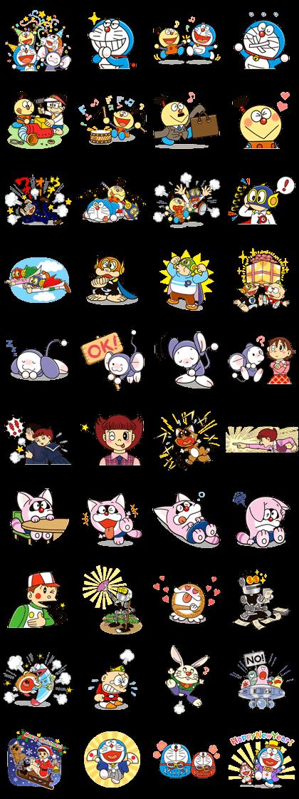 Doraemon & Friends (Fujiko F. Fujio) Line Sticker GIF & PNG Pack: Animated & Transparent No Background | WhatsApp Sticker