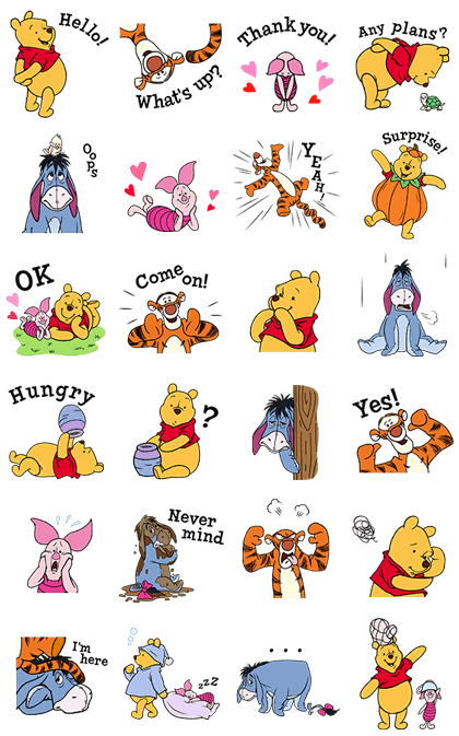 Pooh & Friends - Cute & Cuddly Line Sticker GIF & PNG Pack: Animated & Transparent No Background | WhatsApp Sticker