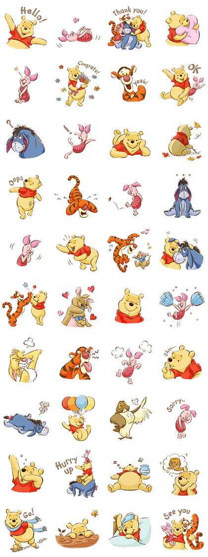 Pooh & Friends (Sunny days) Line Sticker GIF & PNG Pack: Animated & Transparent No Background | WhatsApp Sticker