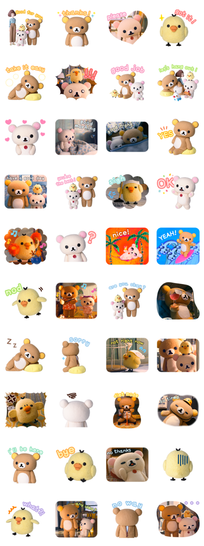 Rilakkuma and Kaoru Line Sticker GIF & PNG Pack: Animated & Transparent No Background | WhatsApp Sticker