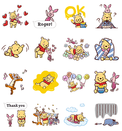 Winnie The Pooh Pop-Up Stickers Line Sticker GIF & PNG Pack: Animated & Transparent No Background | WhatsApp Sticker