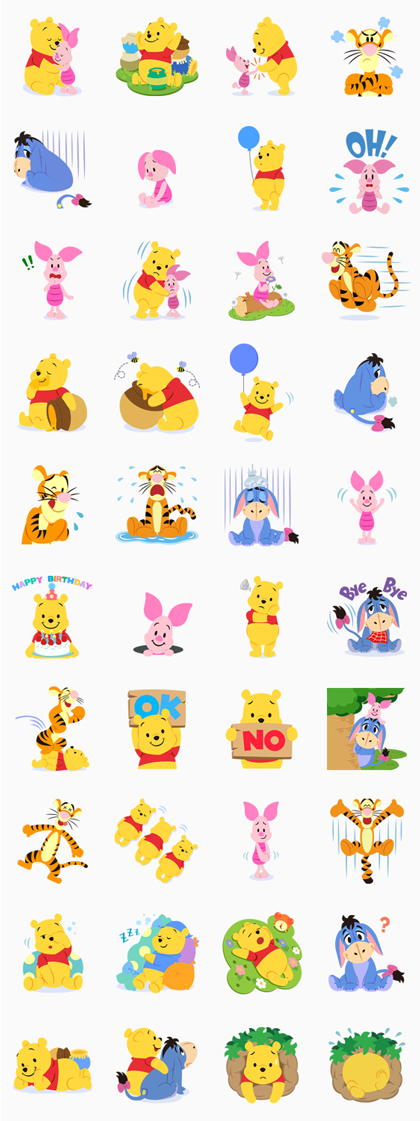 Winnie the Pooh Line Sticker GIF & PNG Pack: Animated & Transparent No Background | WhatsApp Sticker
