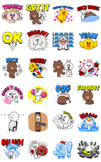 BROWN & FRIENDS Intense Stickers Line Sticker GIF & PNG Pack: Animated & Transparent No Background | WhatsApp Sticker