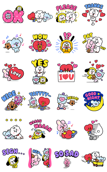 UNIVERSTAR BT21: Baby Style  Line Sticker GIF & PNG Pack: Animated & Transparent No Background | WhatsApp Sticker