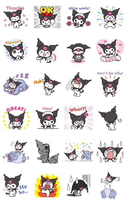 Animated Kuromi Line Sticker GIF & PNG Pack: Animated & Transparent No Background | WhatsApp Sticker