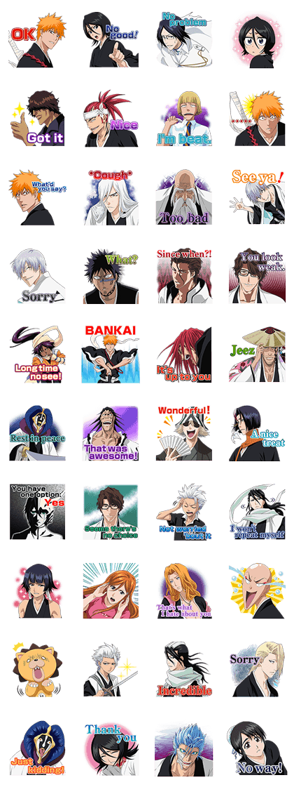 BLEACH Line Sticker GIF & PNG Pack: Animated & Transparent No Background | WhatsApp Sticker