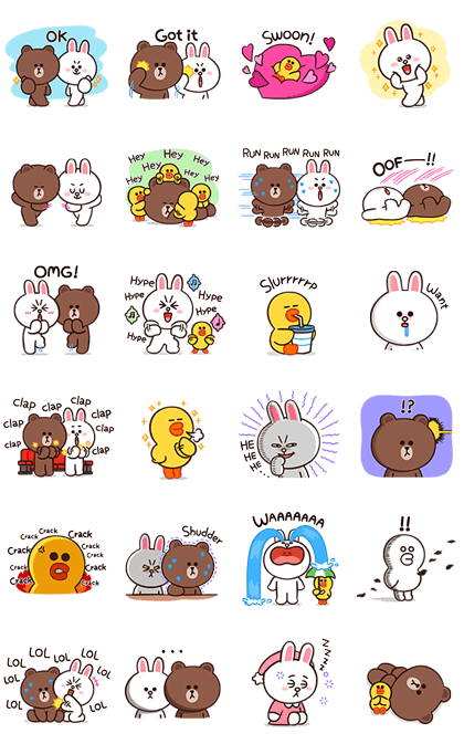 BROWN & FRIENDS Onomatopoeia Line Sticker GIF & PNG Pack: Animated & Transparent No Background | WhatsApp Sticker