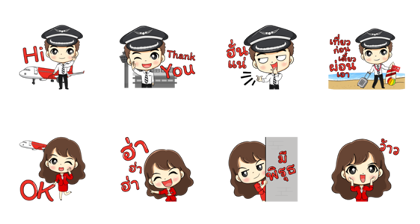 Captain AA & Nong Air - 15604 Line Sticker GIF & PNG Pack: Animated & Transparent No Background | WhatsApp Sticker