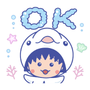 Chibi Maruko-chan: Animated Aquarium Sticker for LINE & WhatsApp | ZIP: GIF & PNG