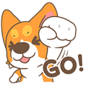Corgi Pon Pon - Fancy Part Sticker for LINE & WhatsApp   ZIP: GIF & PNG