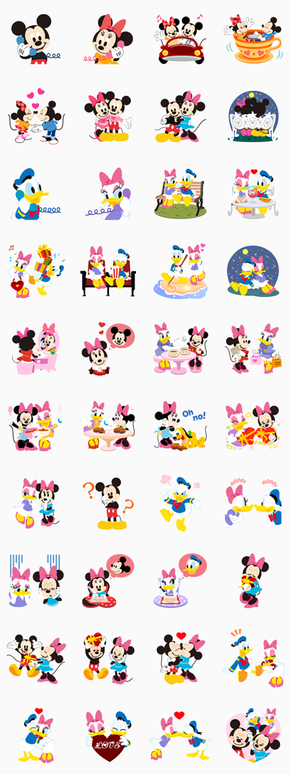 Disney LOVELOVE Line Sticker GIF & PNG Pack: Animated & Transparent No Background | WhatsApp Sticker