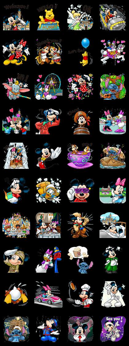 Disney Theme Park Line Sticker GIF & PNG Pack: Animated & Transparent No Background | WhatsApp Sticker