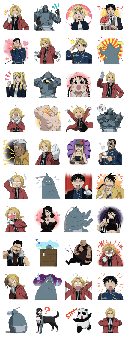 FULLMETAL ALCHEMIST: BROTHERHOOD Line Sticker GIF & PNG Pack: Animated & Transparent No Background | WhatsApp Sticker