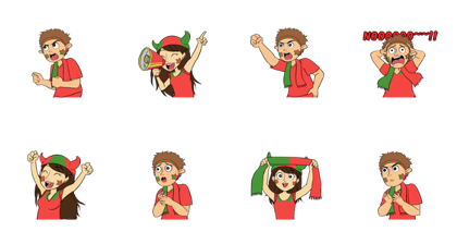 Favorite Team: Portugal Line Sticker GIF & PNG Pack: Animated & Transparent No Background | WhatsApp Sticker