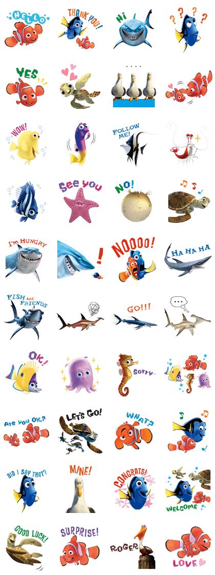 Finding Nemo Line Sticker GIF & PNG Pack: Animated & Transparent No Background | WhatsApp Sticker