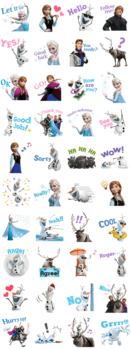 Frozen Line Sticker GIF & PNG Pack: Animated & Transparent No Background | WhatsApp Sticker