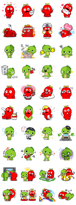 Gachapin & Mukku 2 Line Sticker GIF & PNG Pack: Animated & Transparent No Background | WhatsApp Sticker
