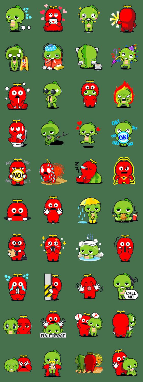 Gachapin & Mukku Line Sticker GIF & PNG Pack: Animated & Transparent No Background | WhatsApp Sticker