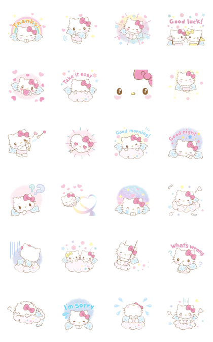 Hello Kitty: Baby Angel Line Sticker GIF & PNG Pack: Animated & Transparent No Background | WhatsApp Sticker
