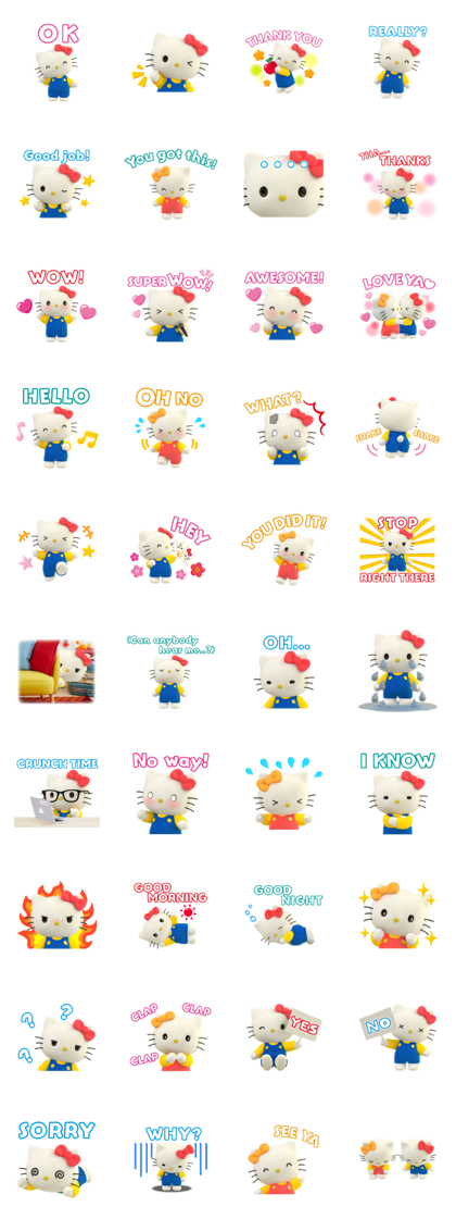 Hello Kitty: Together with Mimmy Line Sticker GIF & PNG Pack: Animated & Transparent No Background | WhatsApp Sticker