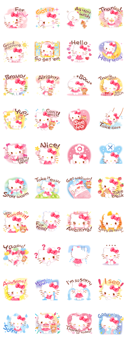 Hello Kitty's Wonderful Watercolor Line Sticker GIF & PNG Pack: Animated & Transparent No Background | WhatsApp Sticker