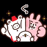 Kumaboo×Piske & Usagi Sticker for LINE & WhatsApp | ZIP: GIF & PNG