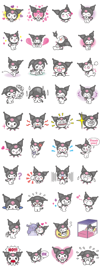 Kuromi Line Sticker GIF & PNG Pack: Animated & Transparent No Background | WhatsApp Sticker