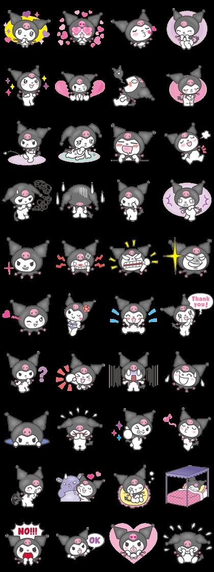 Kuromi Line Sticker GIF & PNG Pack: Animated & Transparent No Background | WhatsApp Sticker