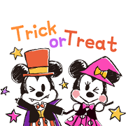 Mickey and Friends (Halloween Sketch) Sticker for LINE & WhatsApp | ZIP: GIF & PNG