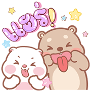 Pig & Bear Big Stickers Sticker for LINE & WhatsApp | ZIP: GIF & PNG