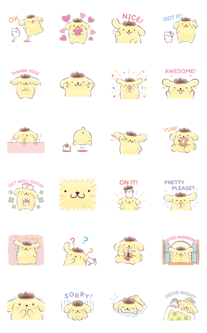 Pompompurin (Watercolor Style) Line Sticker GIF & PNG Pack: Animated & Transparent No Background | WhatsApp Sticker