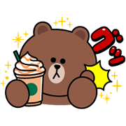 STARBUCKS×BROWN&FRIENDS Sticker for LINE & WhatsApp | ZIP: GIF & PNG