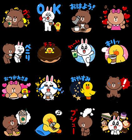 STARBUCKS × BROWN & FRIENDS Line Sticker GIF & PNG Pack: Animated & Transparent No Background   WhatsApp Sticker
