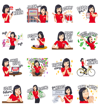 Shalma - Sahabatnya konsumen Alfamart Line Sticker GIF & PNG Pack: Animated & Transparent No Background | WhatsApp Sticker