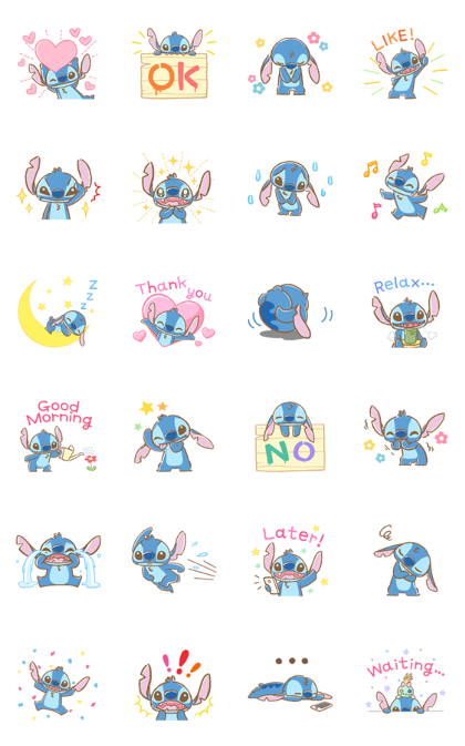 Stitch: Easygoing Politeness Line Sticker GIF & PNG Pack: Animated & Transparent No Background | WhatsApp Sticker