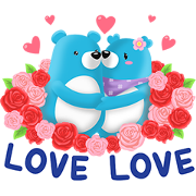 TQM Blue Beary 5 Sticker for LINE & WhatsApp | ZIP: GIF & PNG