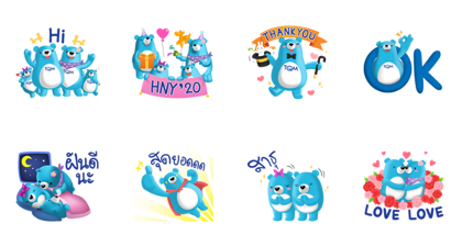 TQM Blue Beary 5 Line Sticker GIF & PNG Pack: Animated & Transparent No Background | WhatsApp Sticker