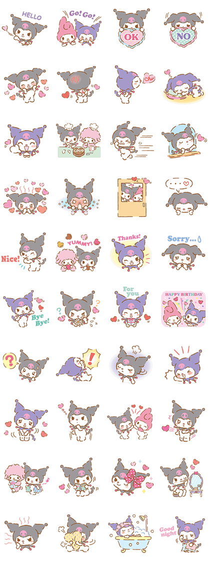 We Love Kuromi Line Sticker GIF & PNG Pack: Animated & Transparent No Background | WhatsApp Sticker