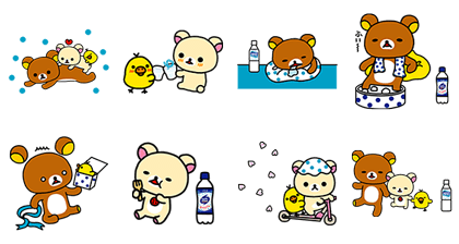 「CALPIS」 Brand × Rilakkuma Stickers Line Sticker GIF & PNG Pack: Animated & Transparent No Background | WhatsApp Sticker