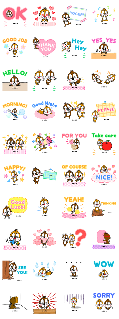 Chip 'n' Dale Custom Stickers (Polite) Line Sticker GIF & PNG Pack: Animated & Transparent No Background | WhatsApp Sticker