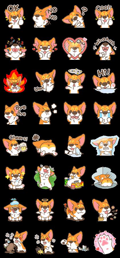 Corgi Pon Pon Line Sticker GIF & PNG Pack: Animated & Transparent No Background | WhatsApp Sticker