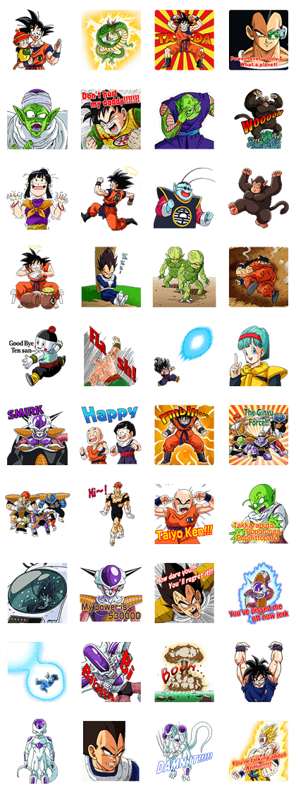 DRAGONBALL Z SAIYAN&FRIEZA SAGA Line Sticker GIF & PNG Pack: Animated & Transparent No Background | WhatsApp Sticker