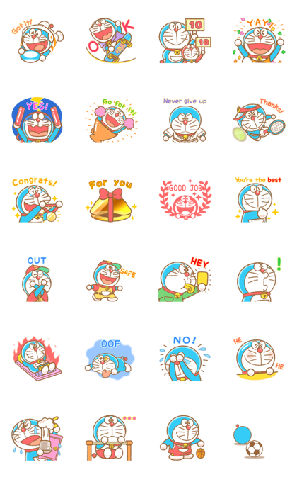 Doraemon's Animated Sports Line Sticker GIF & PNG Pack: Animated & Transparent No Background | WhatsApp Sticker