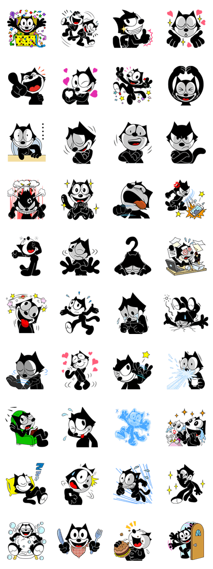 FELIX THE CAT - 1550 Line Sticker GIF & PNG Pack: Animated & Transparent No Background | WhatsApp Sticker