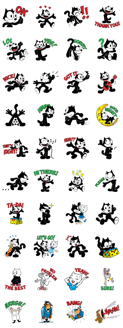FELIX THE CAT - 16047 Line Sticker GIF & PNG Pack: Animated & Transparent No Background | WhatsApp Sticker