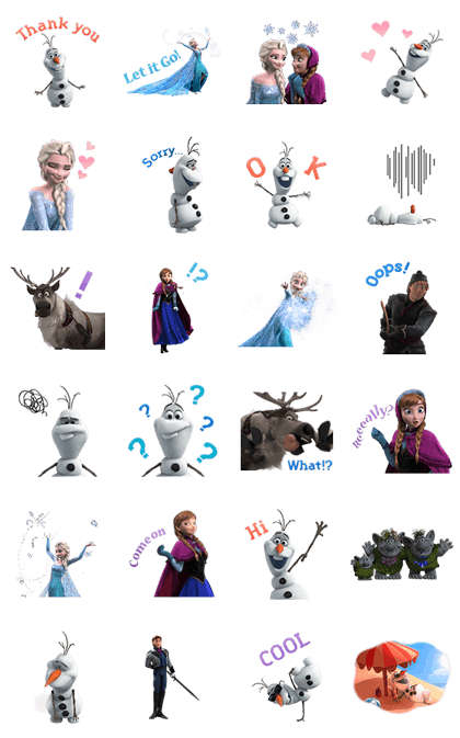 Frozen Animated Stickers Line Sticker GIF & PNG Pack: Animated & Transparent No Background | WhatsApp Sticker