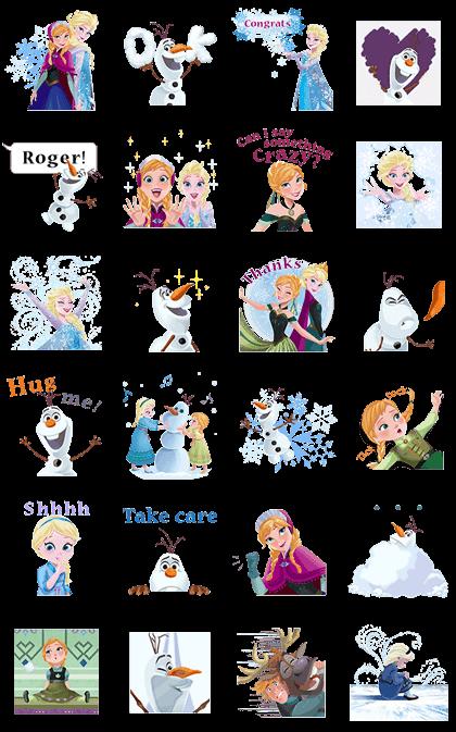 Frozen Pop-Up Stickers Line Sticker GIF & PNG Pack: Animated & Transparent No Background | WhatsApp Sticker