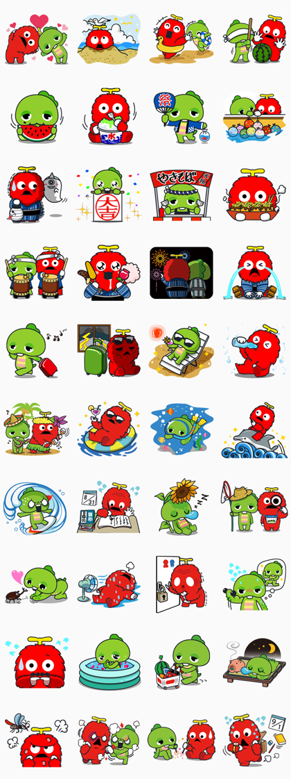 Gachapin & Mukku: Summer Special Line Sticker GIF & PNG Pack: Animated & Transparent No Background | WhatsApp Sticker