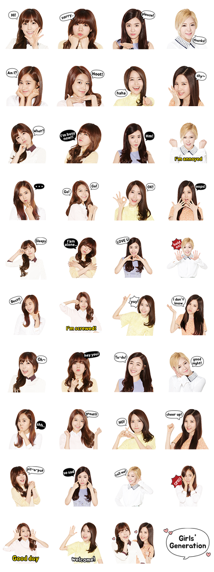 Girls' Generation (SNSD) Special Line Sticker GIF & PNG Pack: Animated & Transparent No Background | WhatsApp Sticker